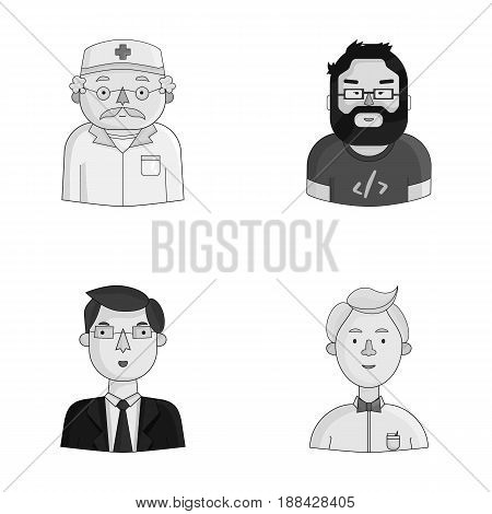 Doctor in a dressing-gown with a red cross on his head, a hacker with a beard in a T-shirt and glasses, a businessman in a tie, a waiter in a gastronome, a butterfly. People of different professions set collection icons in monochrome style vector symbol s