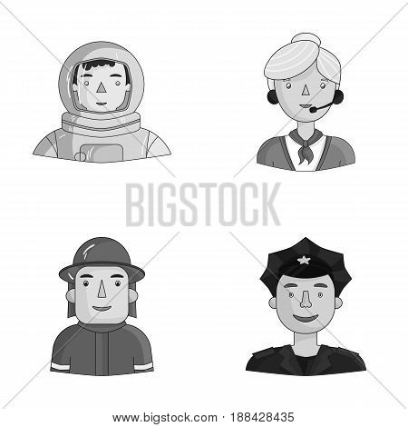 An astronaut in a spacesuit, a co-worker with a microphone, a fireman in a helmet, a policeman with a badge on his cap. People of different professions set collection icons in monochrome style vector symbol stock illustration .