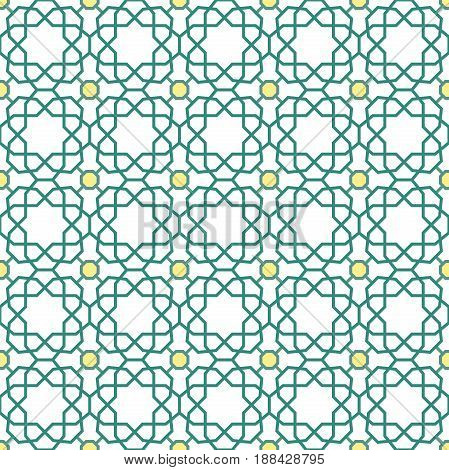 Seamless background for your designs. Modern green and yellow ornament. Geometric abstract pattern