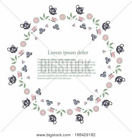 Round typography banner tenmplate for tea, Lorem ipsum, flat design stock vector illustration. Colorful icons tea pot, tea bag, shugar cube, tea leafs on white background