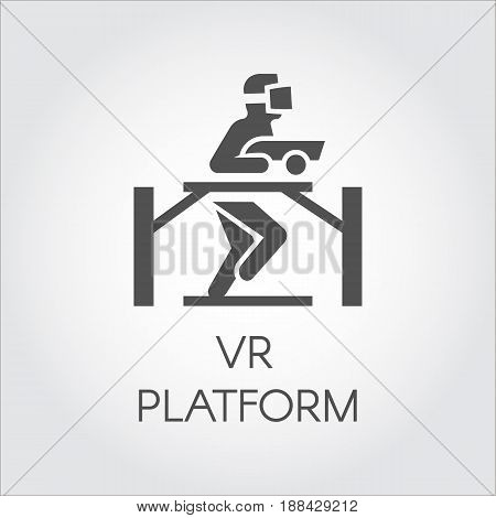 Simple icon in flat design of technology device game virtual reality. Vector logo of man in VR helmet gaming on platform. Cyberspace, simulation, interactive concept for your design projects