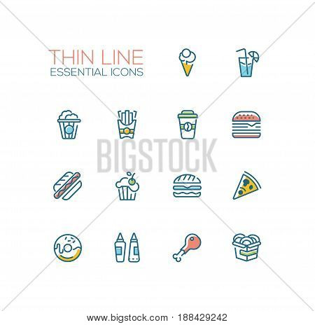Fast Food Cafe Menu - set of modern vector line design icons. Hot dog, hamburger, French fries, sandwich, pizza, ice cream, soda, muffin, bacon, ketchup, mustard, pop corn, donut, chicken roll-up sandwich coffee wok