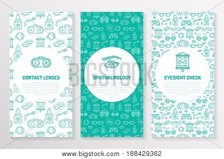 Ophthalmology, medical brochure template, flyer. Eye health care thin line icons contact lenses, eyesight check. Cute illustration for hospital poster. Vector trifold blue background.