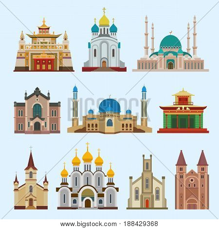 Cathedral church infographic dfferent religion creed ttraditional temple building landmark tourism vector illustration. World religions history place historic monument.