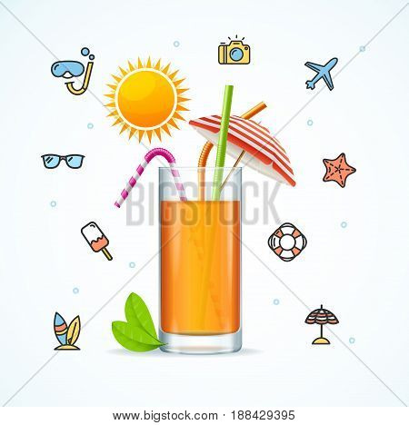 Hello Summer Concept Vacation on Beach with Fresh Cocktail Season Relax Travel. Vector illustration
