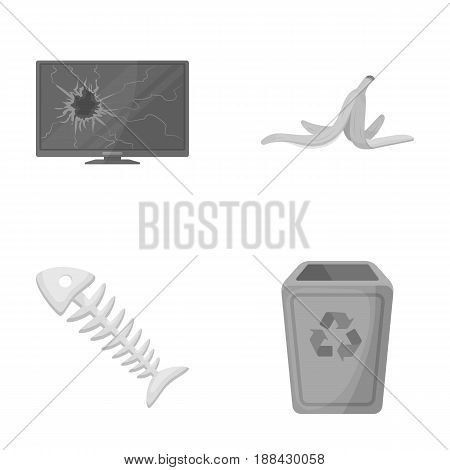 Broken TV monitor, banana peel, fish skeleton, garbage bin. Garbage and trash set collection icons in monochrome style vector symbol stock illustration .