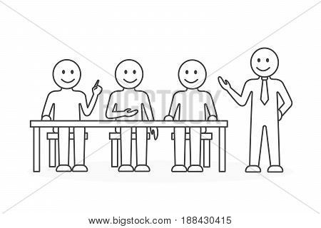 Office work illustration on white background. Line art.