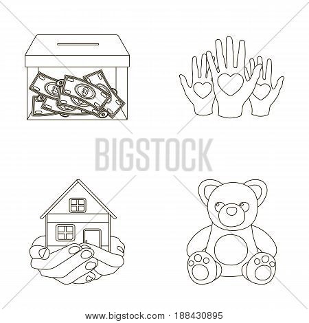 Boxing glass with donations, hands with hearts, house in hands, teddy bear for charity. Charity and donation set collection icons in outline style vector symbol stock illustration .