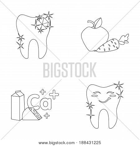 A tooth with brilliant sparkling, an apple with carrots useful for teeth, milk in a box, cheese and a sign of calcium, a smiling tooth. Dental care set collection icons in outline style vector symbol stock illustration .