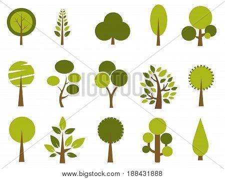 Set of green trees illustration on white