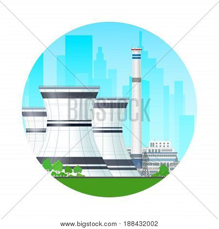 Icon Nuclear Power Plant on the Background of the City Thermal Station and Power Lines Nuclear Reactor Supplies Electricity to the City Vector Illustration
