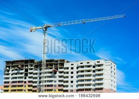 Construction of the new moden residential buildings and crane