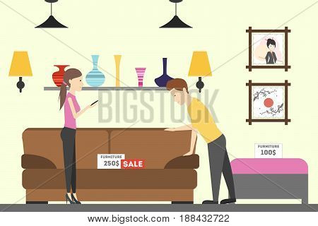 Furniture store interior. Buying bed, sofa and other soft furniture.
