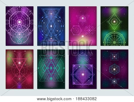 Popular sacred geometry ancient symbols  8 colorful banners with glowing blurry lights mystical backgrounds isolated vector illustration