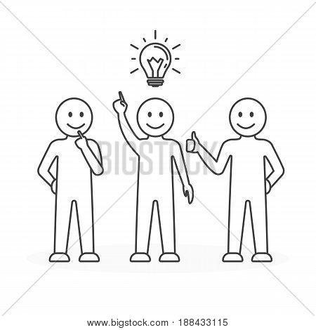 Team, work, idea. Concept of idea. Businessman with light bulb Line art