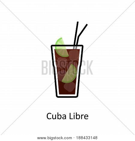 Cuba Libre cocktail icon in flat style. Vector illustration