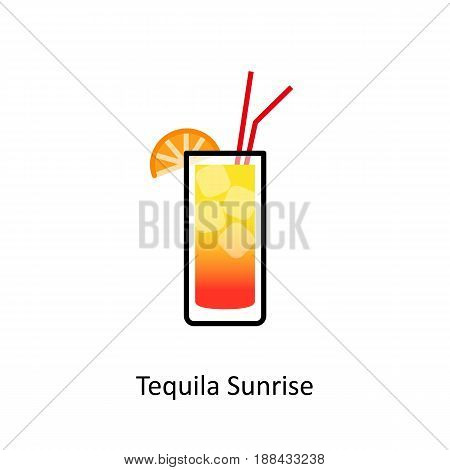 Tequila Sunrise cocktail icon in flat style. Vector illustration