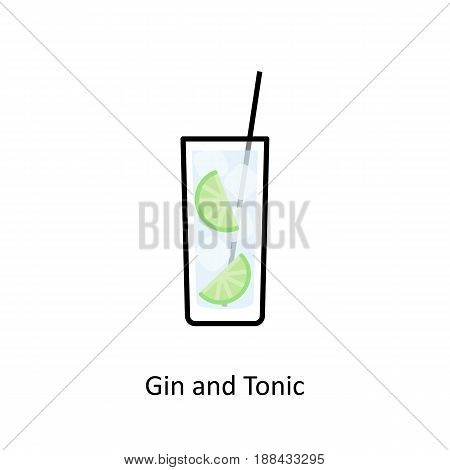 Gin and Tonic cocktail icon in flat style. Vector illustration