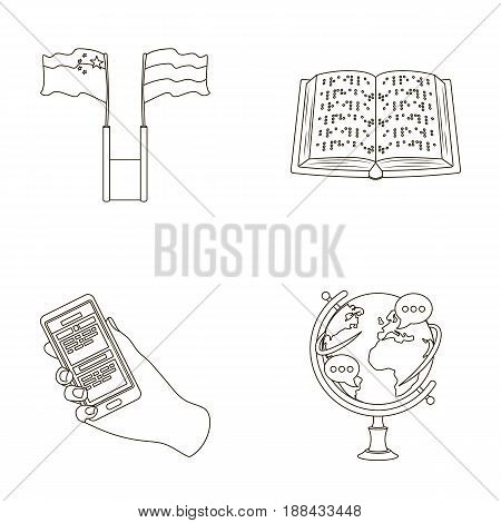 Two flags, a book for the blind, a hand with a phone with translated text, a globe of the Earth. Interpreter and translator set collection icons in outline style vector symbol stock illustration .