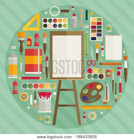 Flat Design Vector Illustration Icons Set Of Art Supplies, Art Instruments For Painting, Drawing, Sk
