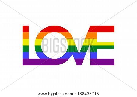 Inscription Love with colors of LGBT flag. Vector illustration
