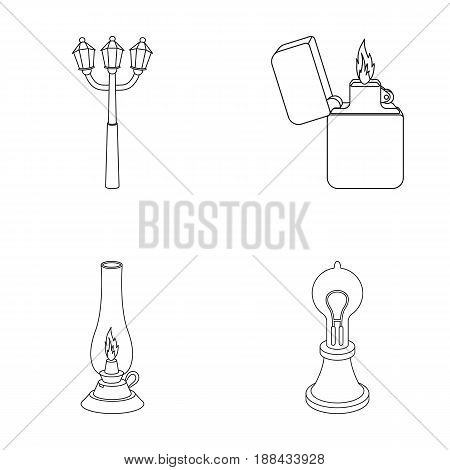 Street lamp, lighter, kerosene lamp, lamp of Edison.Light source set collection icons in outline style vector symbol stock illustration .