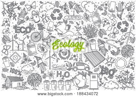 Hand drawn Ecology doodle set background with green lettering in vector