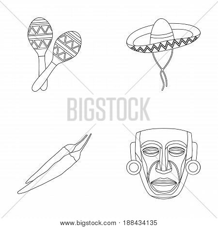 Maracas national musical instrument, sambrero traditional Mexican headdress, red pepper, bitter, idol-deity.Mexico country set collection icons in outline style vector symbol stock illustration .
