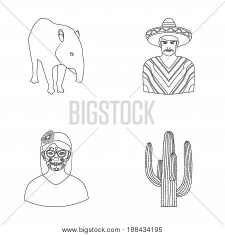 Tapir Mexican animal, a Mexican in national clothes in a poncho, a woman with a flower, a cactus. Mexico country set collection icons in outline style vector symbol stock illustration .