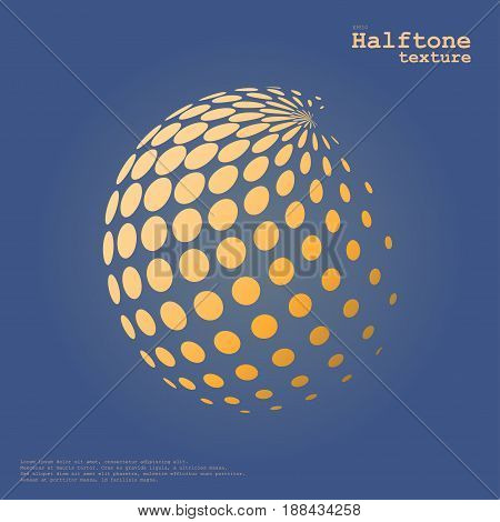 Abstract halftone sphere in orange color isolated over the center of complement color background and with example of text, created for business advertising, presentation, logo, web