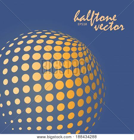Abstract halftone sphere in orange color on complement color background and with example of text, created for business advertising, presentation, logo, web