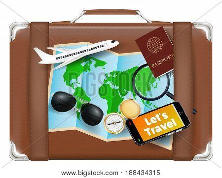 Travel bag with world map sunglasses compass passport plane smartphone