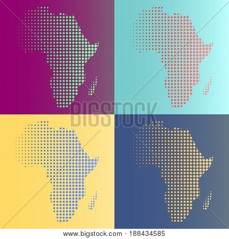 Set of halftone vector Africa map in multicolors. All colors are complement
