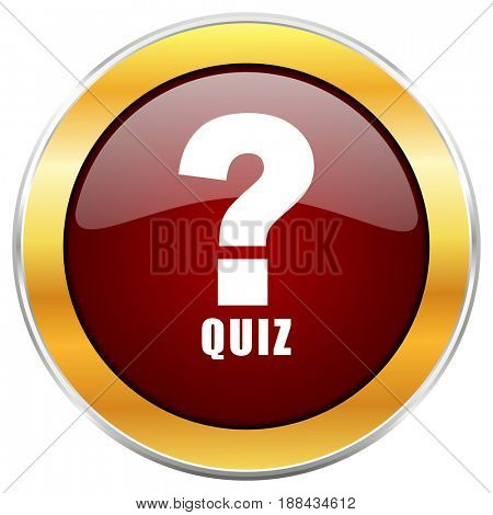 Quiz red web icon with golden border isolated on white background. Round glossy button.