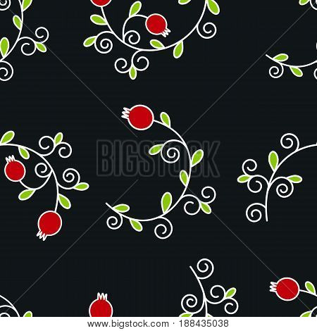 Vector seamless pattern with pomegranates. Floral pattern on black background for cushion, pillow, bandanna, silk kerchief or shawl fabric print. Texture for clothes, bedclothes