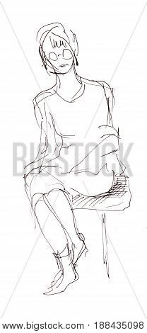 Instant sketch girl sitting on the chair