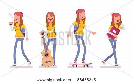 Teenager girl wearing cute beanie, messenger rucksack, casual slim fit, walking, standing, holding guitar, skateboarding, vaping, vector flat style cartoon illustration on isolated, white background