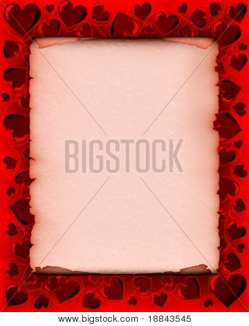 Valentines day background frame with heart shaped ornament around a piece of parchment