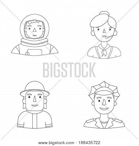 An astronaut in a spacesuit, a co-worker with a microphone, a fireman in a helmet, a policeman with a badge on his cap. People of different professions set collection icons in outline style vector symbol stock illustration .