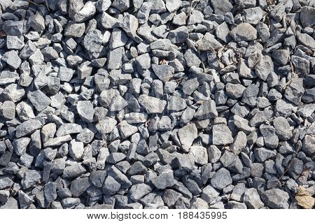 Small Crushed Stone On The Road.