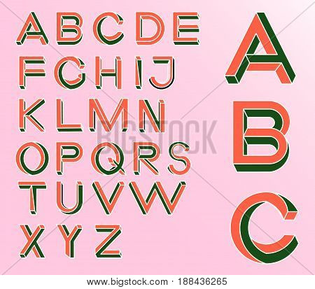 Impossible Geometry letters. Impossible shape font. Low poly 3d characters. Geometric font. Isometric graphics 3d abc. Vector illustration 10 eps.