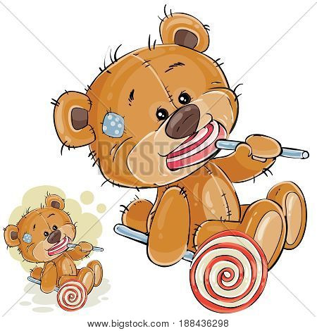 Vector illustration of a brown teddy bear is holding in its paws and eating a lollipop. Print, template, design element