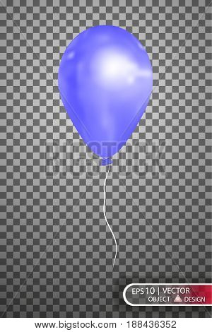 Balloon blue on a transparent background.Vector Eps10.