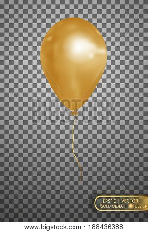 Balloon gold on a transparent background.Vector Eps10.