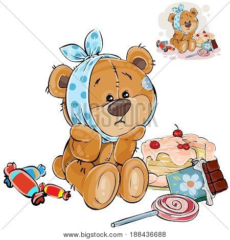 Vector illustration of a brown teddy bear sweet tooth ate a lot of sweets and now he has a toothache. Print, template, design element