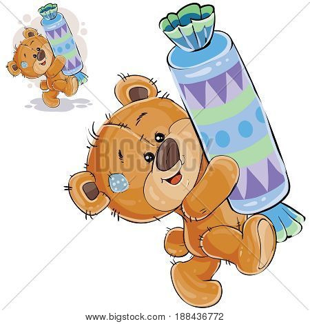 Vector illustration of a brown teddy bear sweet tooth holding in its paws a big candy and carries it somewhere. Print, template, design element