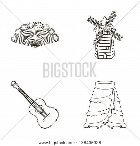 Fan Spanish, mill, guitar, skirt for national Spanish dances. Spain country set collection icons in outline style vector symbol stock illustration .