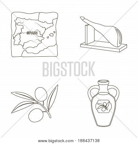 Map of Spain, jamon national dish, olives on a branch, olive oil in a bottle. Spain country set collection icons in outline style vector symbol stock illustration .