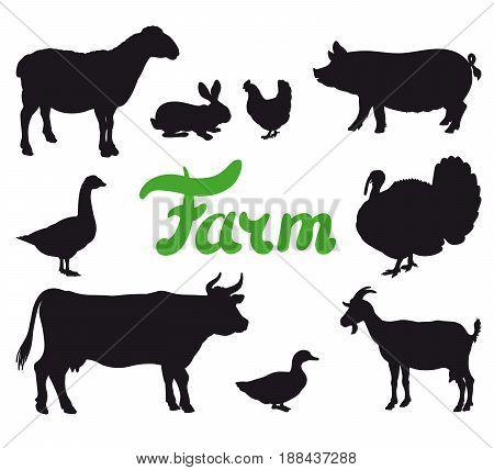 farm animals. set of black icons on a white background