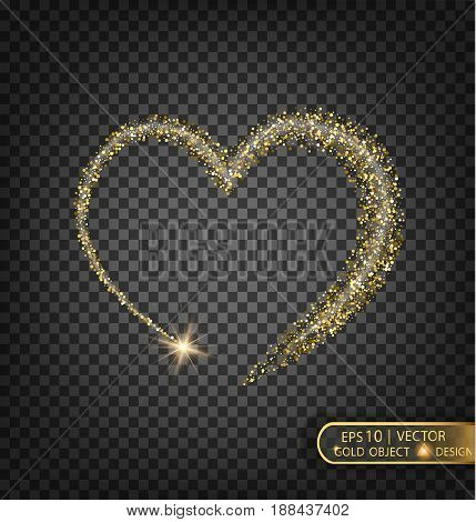 A golden heart sparkles on a transparent background. Gold background with sparkles. Flying Christmas star along the trajectory of the heart.